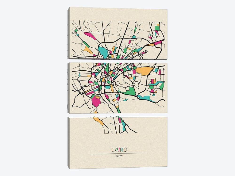Cairo, Egypt Map by Ayse Deniz Akerman 3-piece Canvas Art