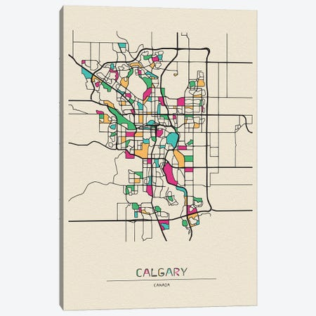 Calgary, Canada Map Canvas Print #ADA187} by Ayse Deniz Akerman Canvas Art Print