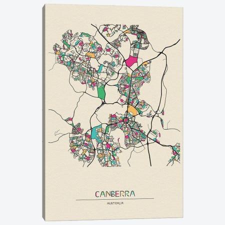 Canberra, Australia Map Canvas Print #ADA189} by Ayse Deniz Akerman Canvas Art