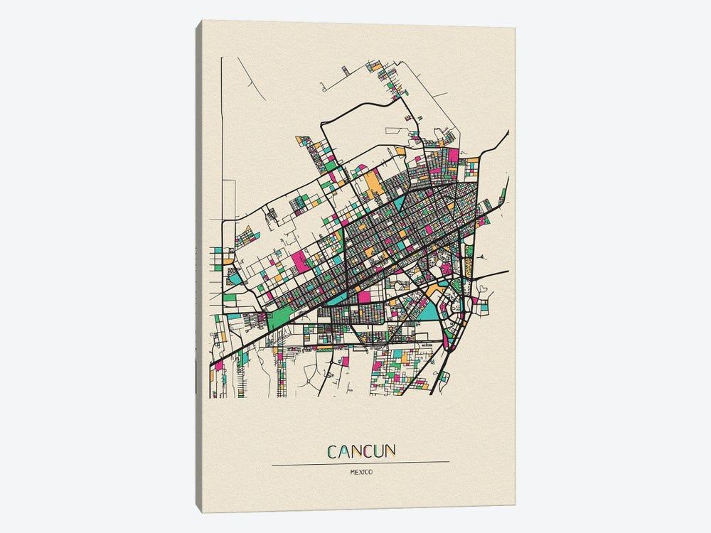 Cancun, Mexico Map by Ayse Deniz Akerman 1-piece Canvas Print