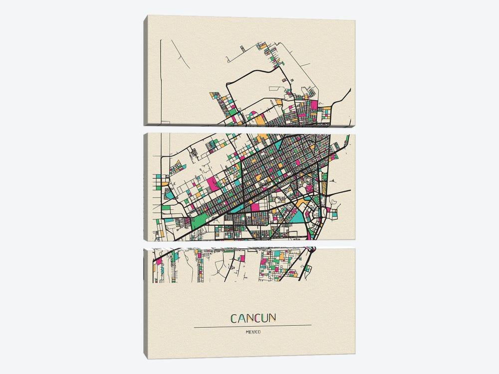 Cancun, Mexico Map by Ayse Deniz Akerman 3-piece Art Print