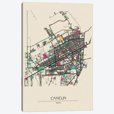 Cancun, Mexico Map Canvas Print #ADA190} by Ayse Deniz Akerman Art Print