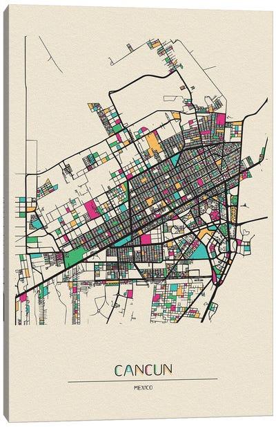 Cancun, Mexico Map Canvas Art Print