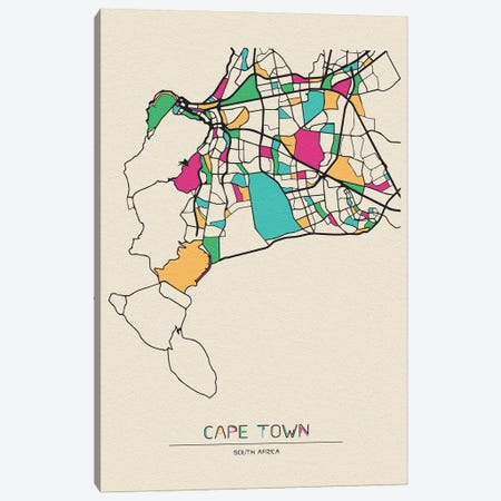 Cape Town, South Africa Map Canvas Print #ADA191} by Ayse Deniz Akerman Canvas Art Print