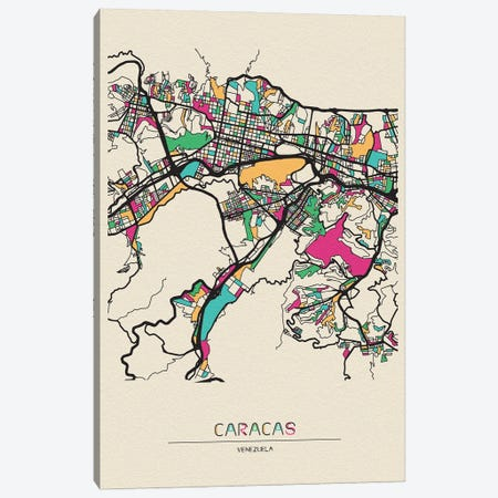 Caracas, Venezuela Map Canvas Print #ADA192} by Ayse Deniz Akerman Canvas Art Print