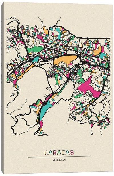Caracas, Venezuela Map Canvas Art Print