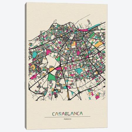 Casablanca, Morocco Map Canvas Print #ADA193} by Ayse Deniz Akerman Canvas Print