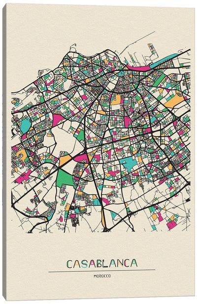 Casablanca, Morocco Map Canvas Art Print