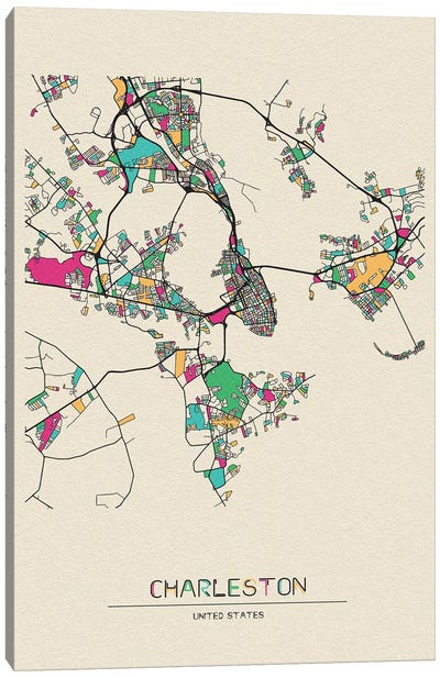 Charleston, South Carolina Map Canvas Art Print