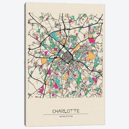 Charlotte, North Carolina Map Canvas Print #ADA196} by Ayse Deniz Akerman Canvas Art
