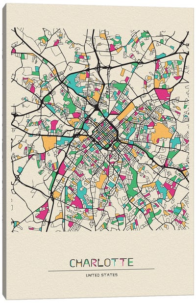 Charlotte, North Carolina Map Canvas Art Print