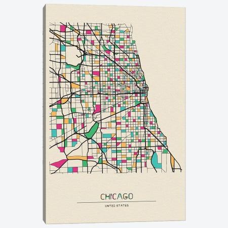Chicago, Illinois Map Canvas Print #ADA198} by Ayse Deniz Akerman Canvas Print
