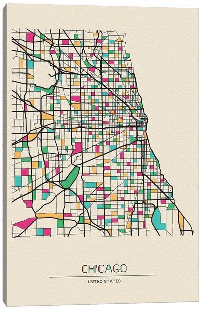 Chicago, Illinois Map Canvas Art Print