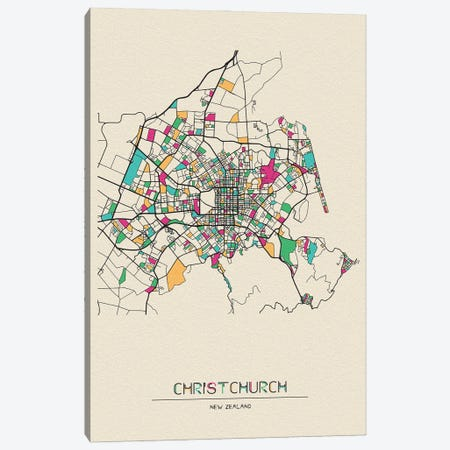 Christchurch, New Zealand Map Canvas Print #ADA199} by Ayse Deniz Akerman Art Print