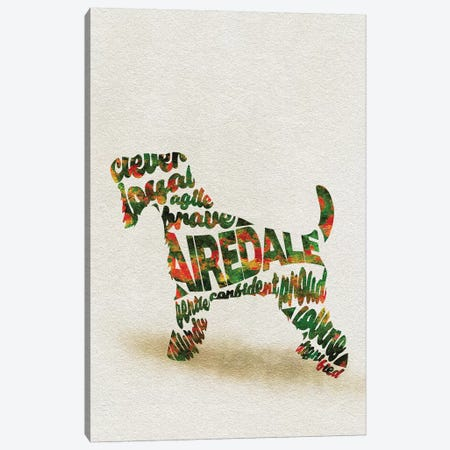 Airedale Terrier Canvas Print #ADA1} by Ayse Deniz Akerman Art Print