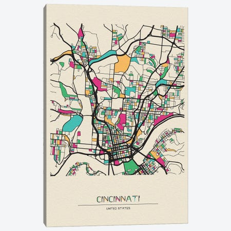 Cincinnati, Ohio Map Canvas Print #ADA201} by Ayse Deniz Akerman Canvas Art Print
