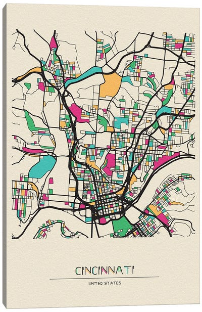 Cincinnati, Ohio Map Canvas Art Print