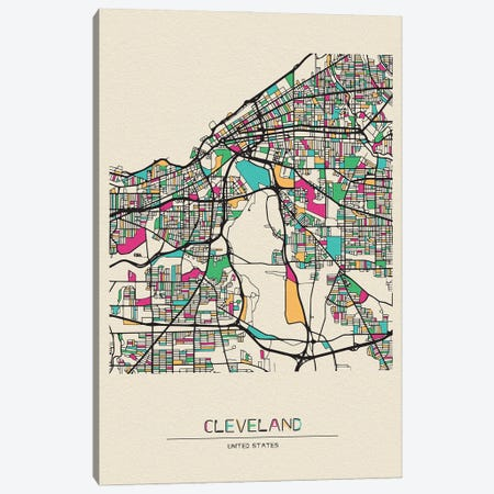 Cleveland, Ohio Map Canvas Print #ADA202} by Ayse Deniz Akerman Art Print
