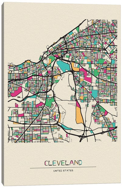 Cleveland, Ohio Map Canvas Art Print