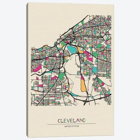 Cleveland, Ohio Map Canvas Print #ADA202} by Ayse Deniz Akerman Art Print
