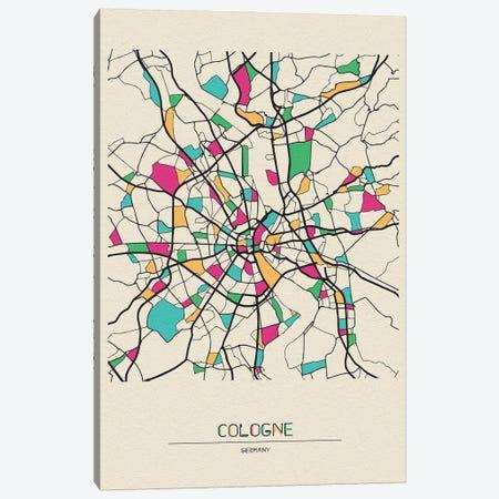 Cologne, Germany Map Canvas Print #ADA203} by Ayse Deniz Akerman Canvas Art Print
