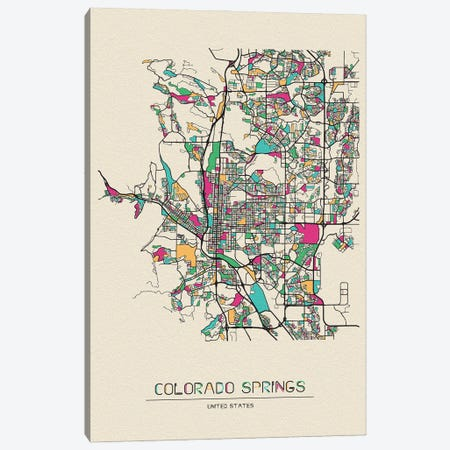 Colorado Springs, Colorado Map Canvas Print #ADA204} by Ayse Deniz Akerman Canvas Wall Art