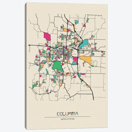 Columbia, Missouri Map 3-Piece Canvas #ADA205} by Ayse Deniz Akerman Canvas Wall Art