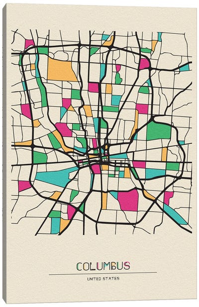 Columbus, Ohio Map Canvas Art Print
