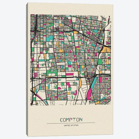 Compton, California Map Canvas Print #ADA207} by Ayse Deniz Akerman Canvas Wall Art