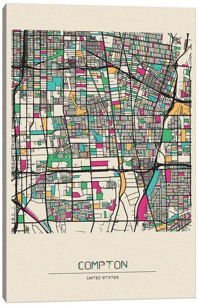 Compton, California Map Canvas Art Print