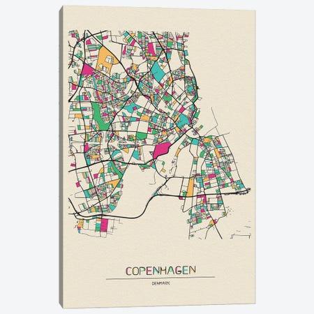 Copenhagen, Denmark Map Canvas Print #ADA208} by Ayse Deniz Akerman Art Print