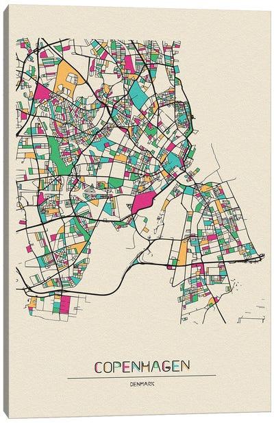 Copenhagen, Denmark Map Canvas Art Print