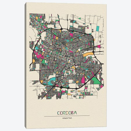 Cordoba, Argentina Map Canvas Print #ADA209} by Ayse Deniz Akerman Canvas Print