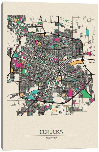 Cordoba, Argentina Map Canvas Art Print