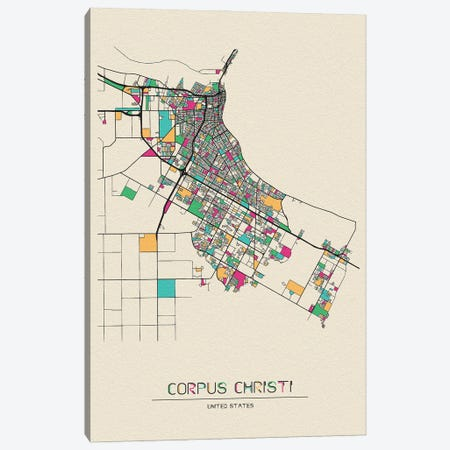 Corpus Christi, Texas Map Canvas Print #ADA210} by Ayse Deniz Akerman Canvas Artwork