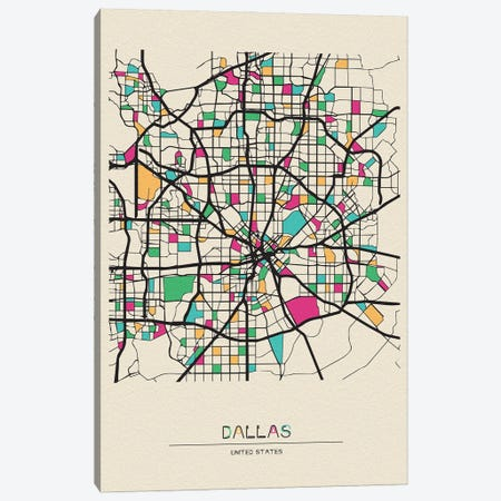 Dallas, Texas Map Canvas Print #ADA212} by Ayse Deniz Akerman Canvas Art