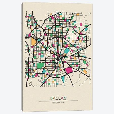 Dallas, Texas Map Canvas Print #ADA212} by Ayse Deniz Akerman Canvas Art