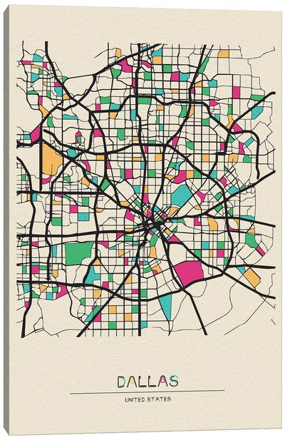 Dallas, Texas Map Canvas Art Print