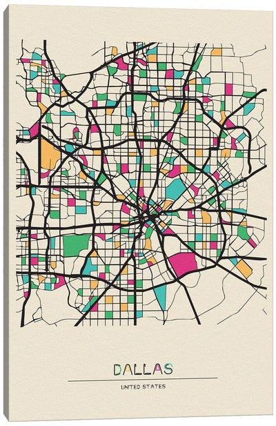Dallas, Texas Map Canvas Art Print