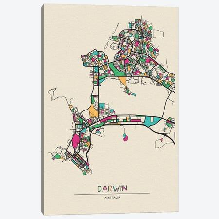 Darwin, Australia Map Canvas Print #ADA213} by Ayse Deniz Akerman Canvas Art