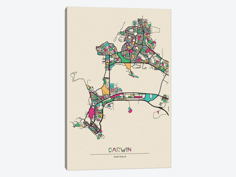Darwin, Australia Map by Ayse Deniz Akerman 1-piece Canvas Art