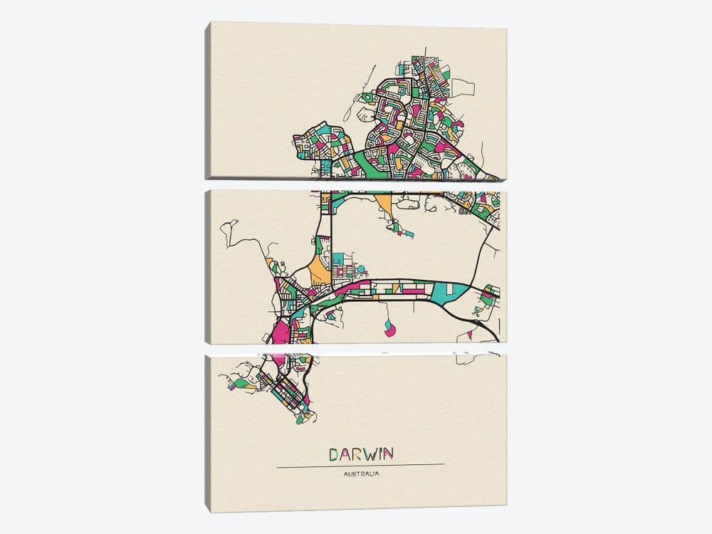Darwin, Australia Map by Ayse Deniz Akerman 3-piece Canvas Wall Art