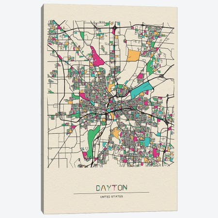 Dayton, Ohio Map Canvas Print #ADA214} by Ayse Deniz Akerman Canvas Art Print