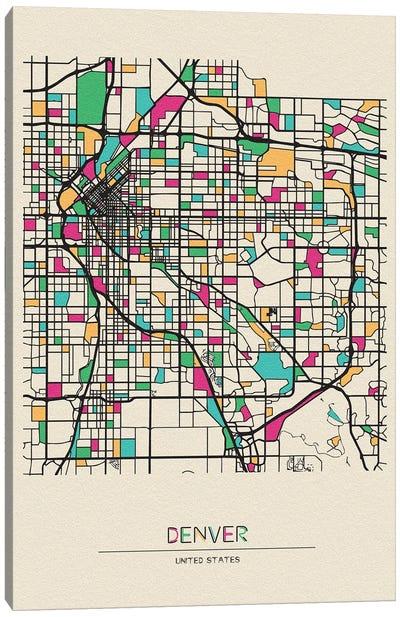 Denver, Colorado Map Canvas Art Print