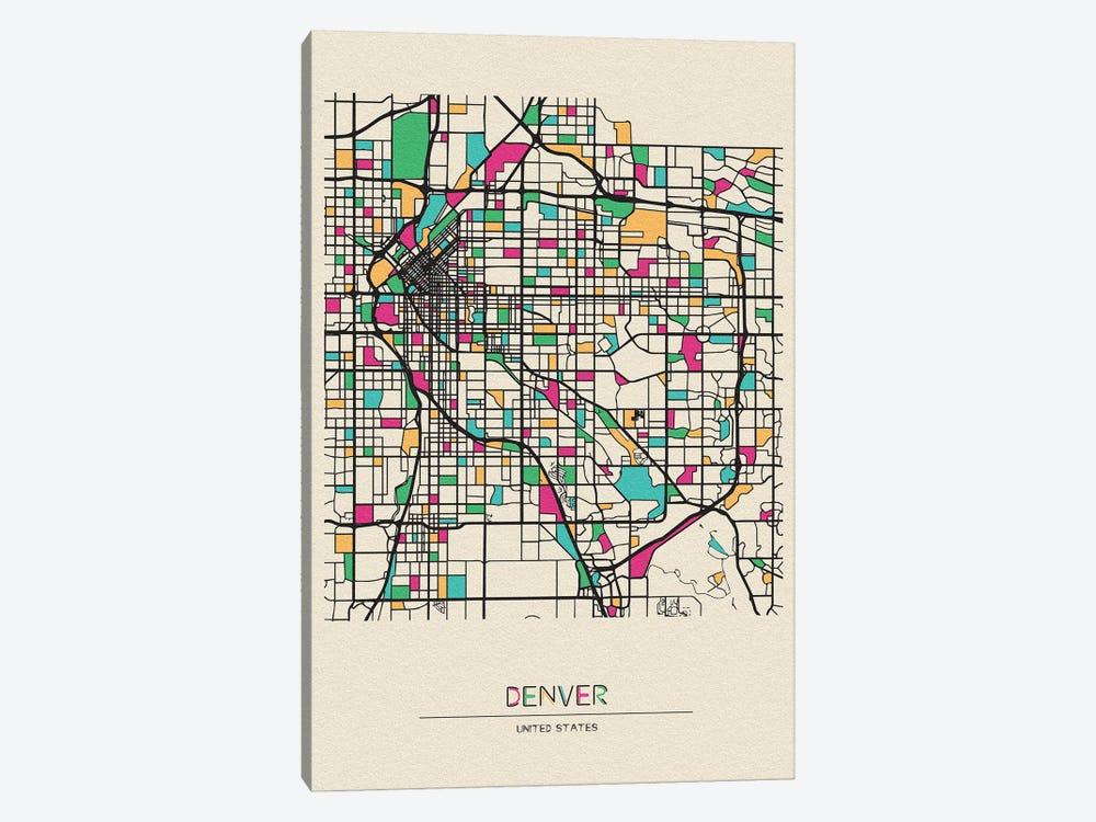 Denver, Colorado Map by Ayse Deniz Akerman 1-piece Canvas Art