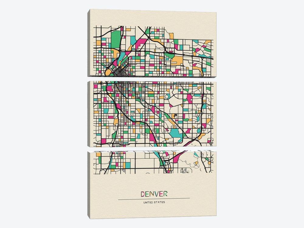 Denver, Colorado Map by Ayse Deniz Akerman 3-piece Canvas Wall Art