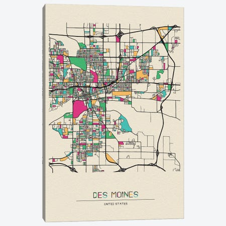 Des Moines, Iowa Map Canvas Print #ADA216} by Ayse Deniz Akerman Art Print