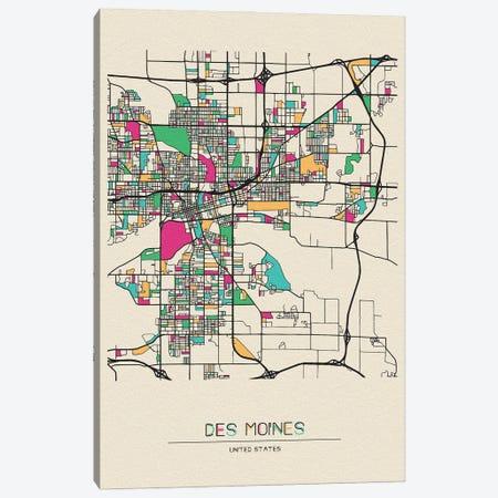 Des Moines, Iowa Map Canvas Print #ADA216} by Ayse Deniz Akerman Art Print