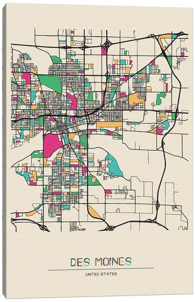 Des Moines, Iowa Map Canvas Art Print