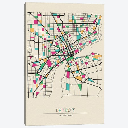Detroit, Michigan Map Canvas Print #ADA217} by Ayse Deniz Akerman Canvas Art Print